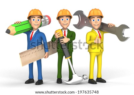 team of workers on white background - stock photo