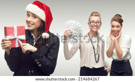 team of young successful business women standing over gray background