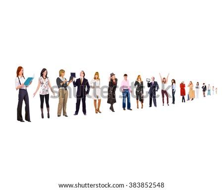 Team over White Office Idea  - stock photo