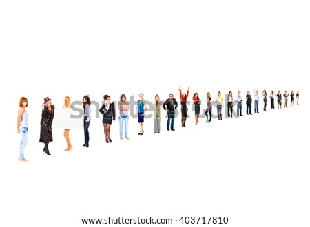 Team over White People Order  - stock photo