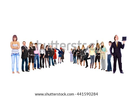 Team over White Together we Stand  - stock photo
