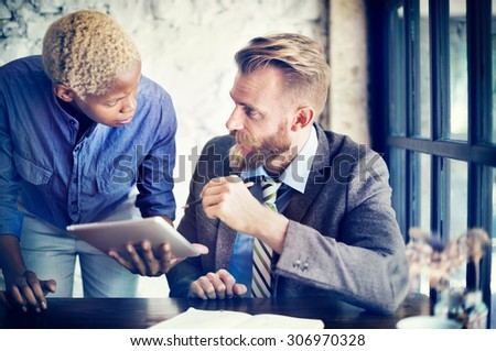 Team Partner Business Discussion Tablet Concept - stock photo
