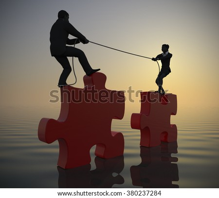 Team pulling huge jigsaw puzzle into position at sea at dawn. Two executives pull huge jigsaw puzzle pieces into position demonstrating teamwork at sea since dawn.  - stock photo