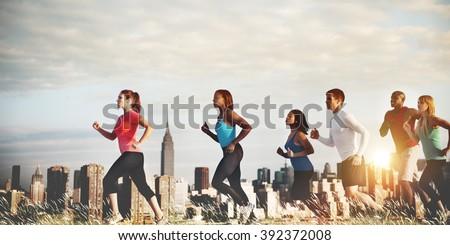 Team Running Marathon Healthy Runner Concept - stock photo