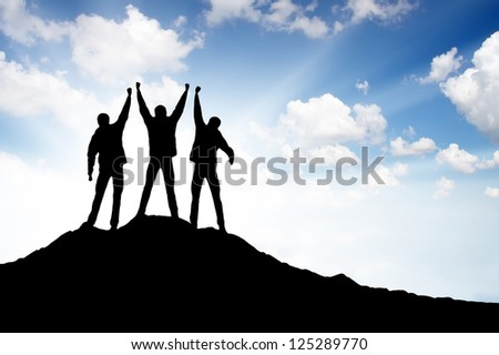 Team silhouette. Sport and active life - stock photo