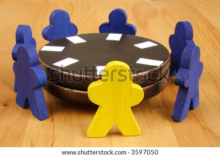 Team solving problems on a meeting - stock photo
