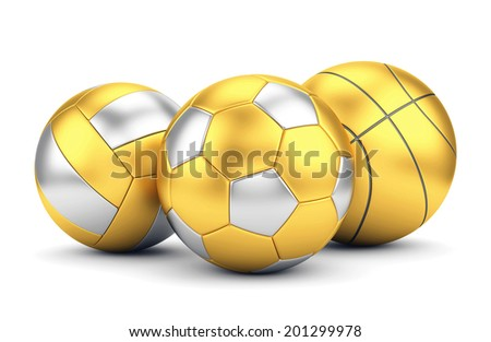 Team sport, winning game and award concept. Golden volleyball, basketball and soccer ball isolated on white background. - stock photo