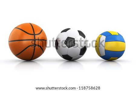 team sports balls - stock photo