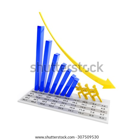 Team stopping the falling trend of a bar graph, 3d render - stock photo