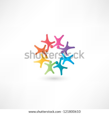 Team symbol. Multicolored people - stock photo