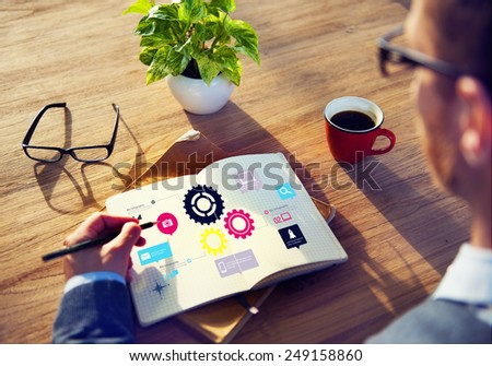 Team Teamwork Cog Functionality Technology Business Concept - stock photo
