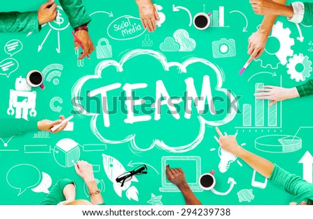 Team Teamwork Support Collaboration Togetherness Help Concept - stock photo