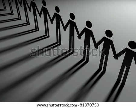 Team together, 3d paper - stock photo