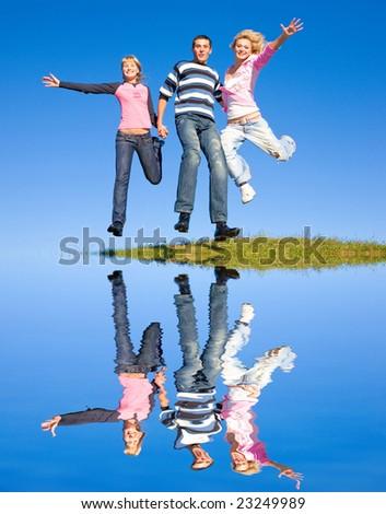 team winning jump - stock photo