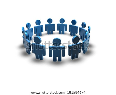 team with simple blue people silhouettes - stock photo