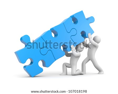 Team with stack of puzzle - stock photo