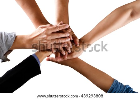 Team work business team showing unity with their hands together isolate on white background with clipping path. - stock photo