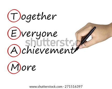 team work concept written by human hand over white