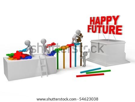 team work for happy future - stock photo