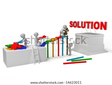 team work for solution - stock photo