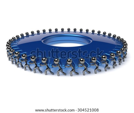 Team work gearwheel business process partnership men turning blue gear wheel hard together. Teamwork cooperation manpower community activism workforce cogwheel concept 3d render isolated - stock photo