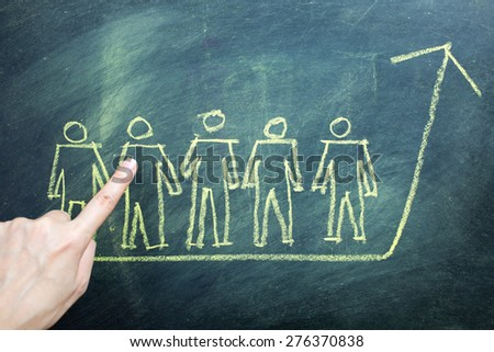 Team work organizational chart concept, on blackboard. - stock photo