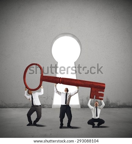 Team work together to find a solution - stock photo