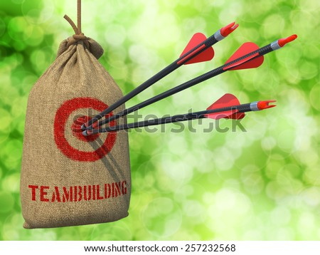 Teambuilding - Three Arrows Hit in Red Target on a Hanging Sack on Natural Bokeh Background. - stock photo