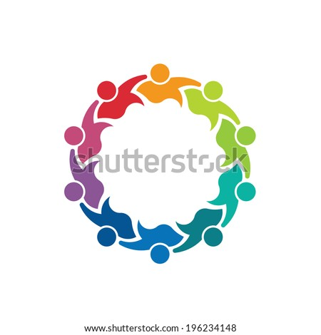 Teammates Business 10 person image. Concept of teamwork, children group, association - stock photo