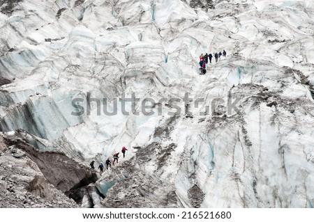 Teams of walkers crossing Fox Glacier, New Zealand - stock photo
