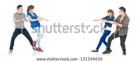 Teams pulling cords isolated against a white background - stock photo