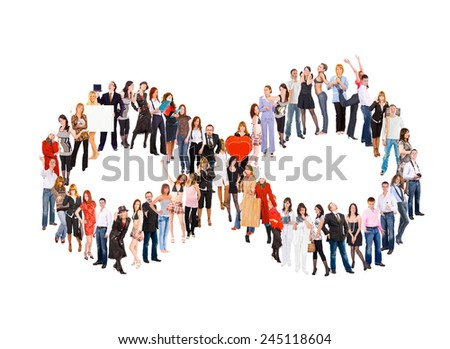 Teamwork Achievement Isolated over White  - stock photo