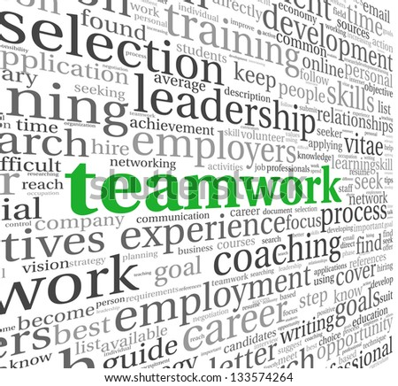 Teamwork and strategy concept in word tag cloud - stock photo