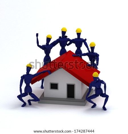 Teamwork Art Dolls Building a House, Complete - stock photo