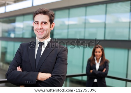Teamwork at office background - stock photo