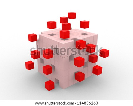 teamwork business abstract concept with red cubes - 3d render