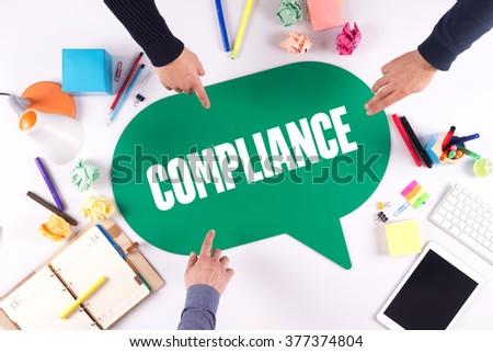 TEAMWORK BUSINESS BRAINSTORM COMPLIANCE CONCEPT - stock photo