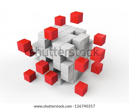 Teamwork business concept. Abstract red and white cubes on a white background