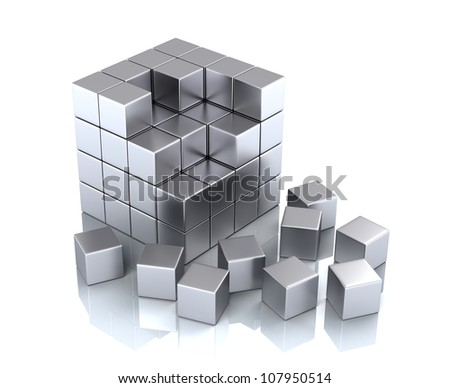 teamwork business concept - cube and blocks - stock photo