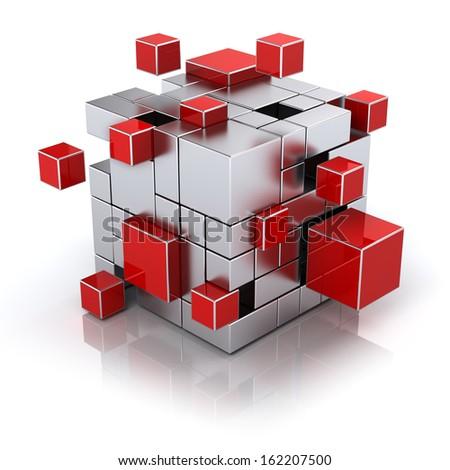 teamwork business concept - cube assembling from blocks - stock photo
