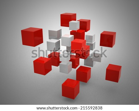 teamwork business concept with red cubes  - stock photo