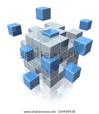 Teamwork business cooperation symbol of social organization as a group of geometric cubes coming together in partnership as a strong connected network on a white background. - stock photo