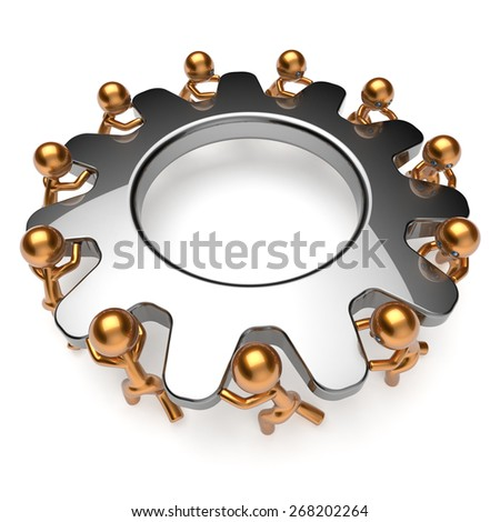 Teamwork business process men characters turning gear together. Partnership team cooperation relationship community efficiency concept. 3d render isolated on white - stock photo
