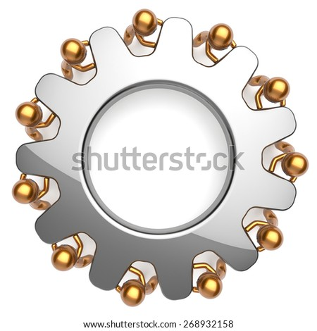 Teamwork business process partnership man characters turning gear together. Team unity cooperation relationship community efficiency concept. 3d render isolated on white - stock photo