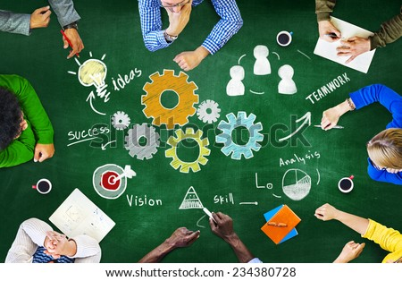 Teamwork Business Team Meeting Unity Gears Working Concept - stock photo