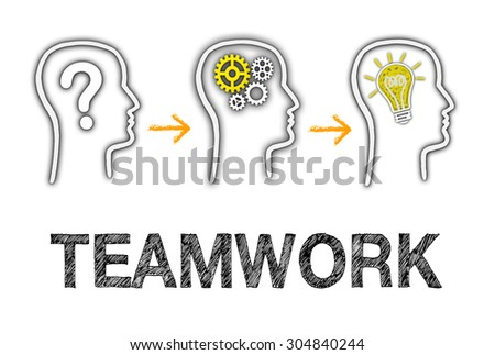 Teamwork - Business team working together with big idea - stock photo