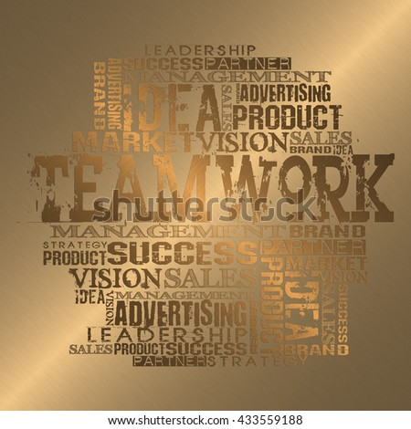 Teamwork Business Word Cloud Concept.  Gold Style - stock photo
