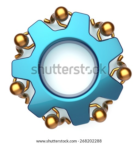Teamwork business workforce process workers turning gear together. Partnership team cooperation relationship efficiency community concept. 3d render isolated on white - stock photo