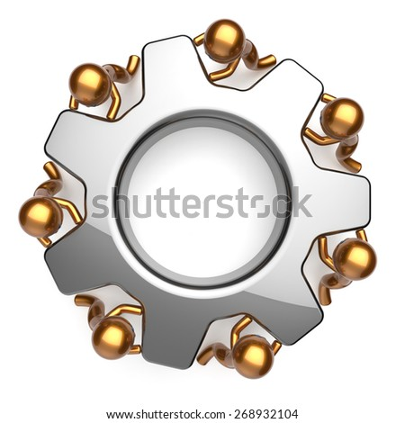 Teamwork business workforce process workers unity turning gear together. Partnership team cooperation relationship efficiency community power concept. 3d render isolated on white - stock photo