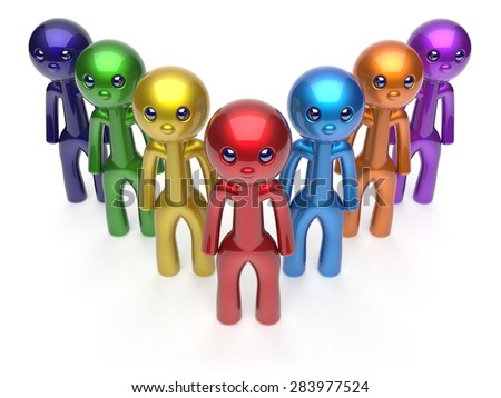 Teamwork cartoon characters men crowd individuality leadership businessman commander team seven person icon. Social relationship friends concept. 3d render isolated - stock photo